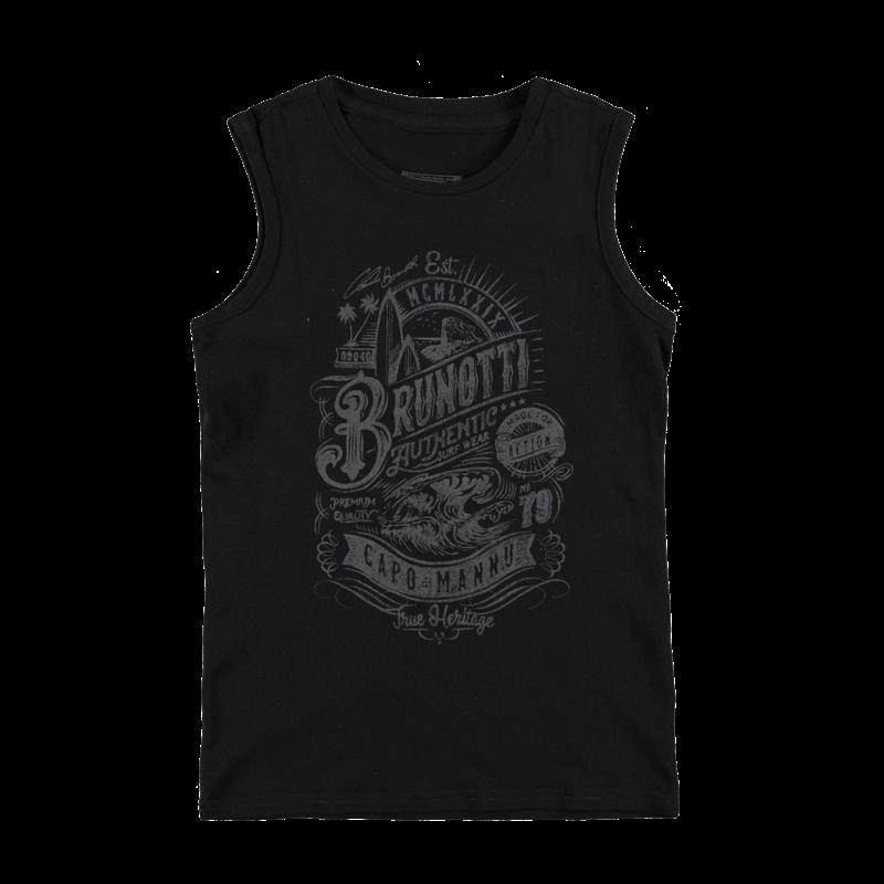 Brunotti Arabes JR Boys Sleeveless (Zwart) - JONGENS T-SHIRTS & POLO'S - Brunotti online shop