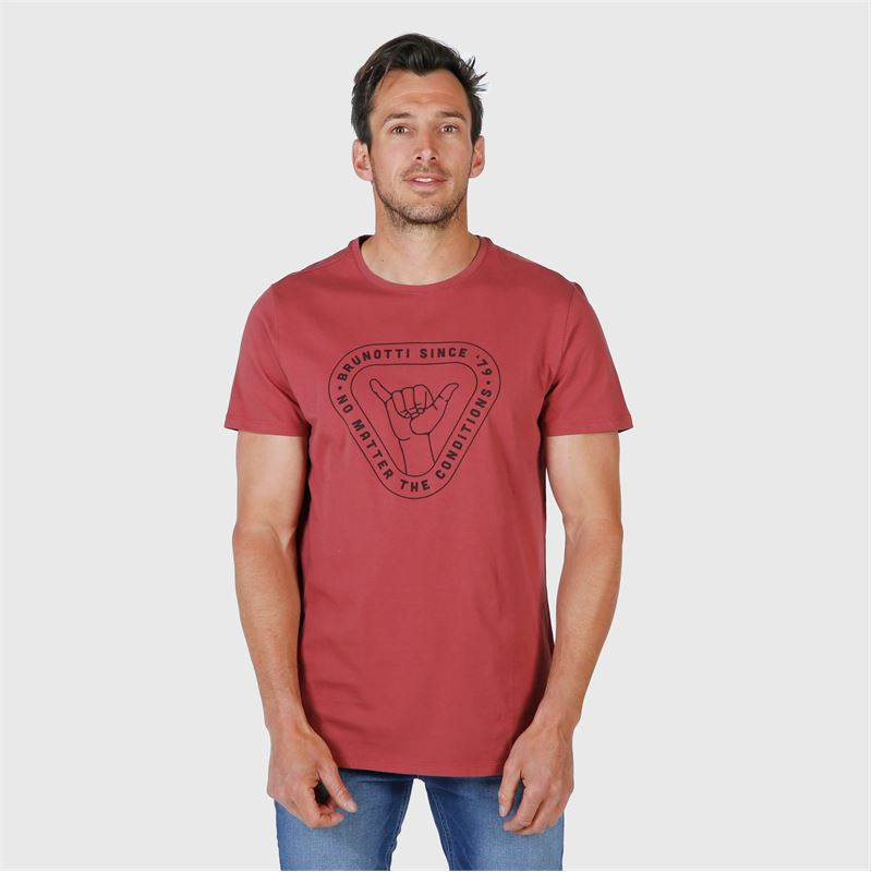 Brunotti Tim-Print  (rood) - heren t-shirts & polo's - Brunotti online shop