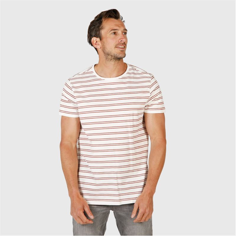 Brunotti Tim-Twin-Stripe  (wit) - heren t-shirts & polo's - Brunotti online shop