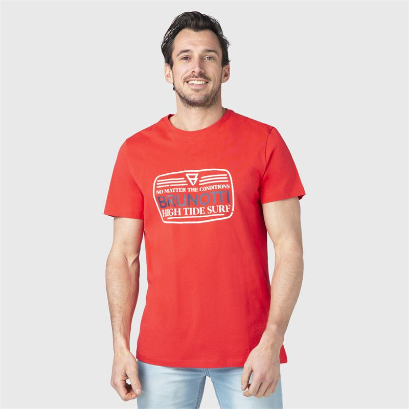 Brunotti Tim-Print  (oranje) - heren t-shirts & polo's - Brunotti online shop